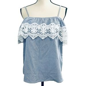 Iris Blue & White Striped Top with Lace